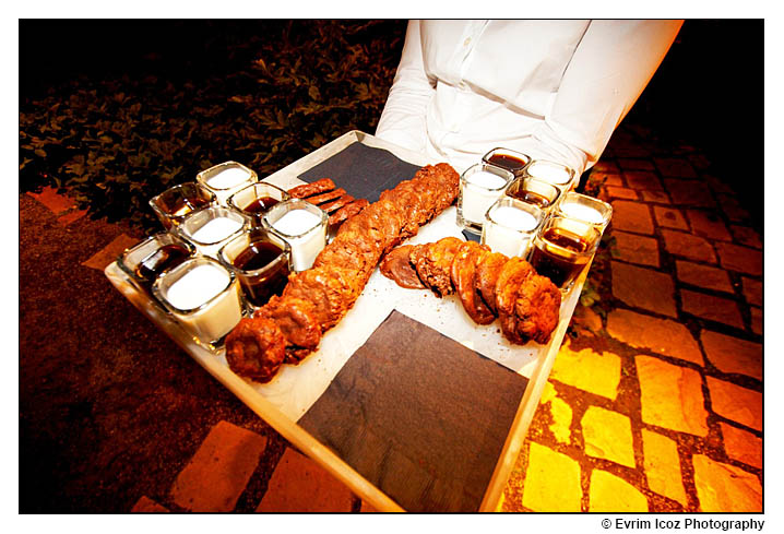 Chocolate cookies with milk and espresso as appetizer at wedding