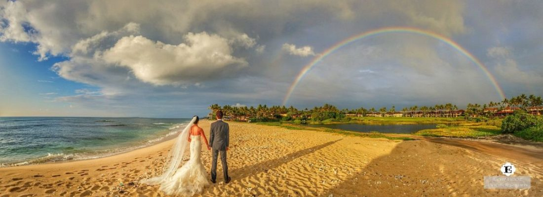 Double Rainbow at Four Seasons Big Island Hawaii Wedding