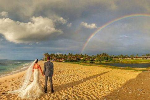 Double Rainbow at Four Seasons Big Island Hawaii Wedding